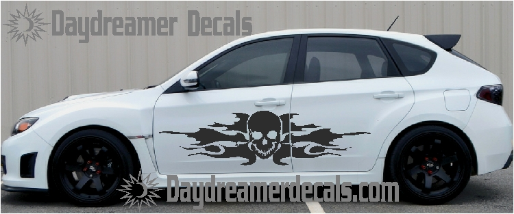 Skull car graphics by daydreamer decals flaming skull kit